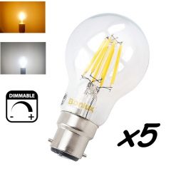 Dimmable B22 LED Filament Edison Retro Bulb 4W 8W 220V Bayonet Base LED B22 A60/A19 Clear Glass Cover Ceilling Fan Bulb-Pack of 5