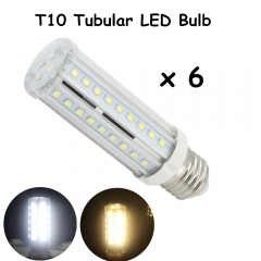 T10 Tubular LED Bulbs with Medium E26 Bulb Base 60W Incandescent LED Replacement Bulb for Piano Light/Showcase/Cabinets Lighting-Pack of 6