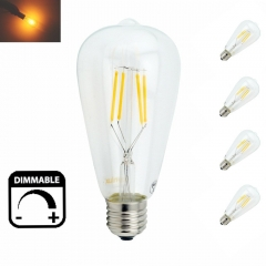 Dimmable LED ST64 4W 8W Vintage Edison Bulb Lamp E26 E27 LED Filament Light Bulb with Retro Incandescent Appearance