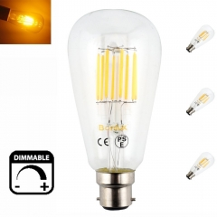 3-Pack 8W B22 Dimmable LED Squirrel Cage Light Bulb BC Bayonet ST64 LED Antique Long Filament Bulb 75W Incandescent Equivalent