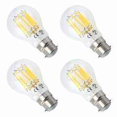 4-Pack 10W Bayonet LED Filament Bulb GLS A60 BC B22 LED Vintage Glass Bulb 100W Incandescent Replacement (Non-dimmable)