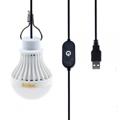 5V USB Dimmable LED Bulb 5W Portable USB Powered LED Lamp with Touch Dimmer Switch for Reading Camping Hiking Fishing Emergency Lighting