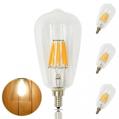 8W ST21 LED Candelabra Edison Filament Bulb ST64 E12 Candelabra Base 110VClear Squirrel Cage Style Decorative Bulb 80W Incandescent Equivalent