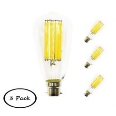 ST64 BC LED Filament Light Bulb 12W B22 Bayonet Cap Antique Edison Style Lamp Bulb Long Filament 120W Halogen Replacement Non-dimmable (3 Pack)
