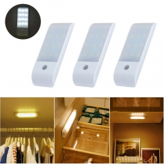 Rechargeable LED Motion Sensor Closet Lights Portable Wireless Night Light with Magnetic Strip DIY Stick-on Anywhere for Cabinet Wardrobe (Pack of 3)
