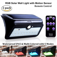 Solar Powered RGB Wall Lights PIR Motion Sensor, Multi Coloured with 5 Modes, 39 LED Chips Solar Security Lights Outdoor Wireless Waterproof (2-pack)