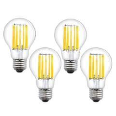 A19 Dimmable Vintage Filament Bulb E26 Medium Screw Base, A60 12W LED Classic Light Bulb for Restaurant, Coffee Bar, Reading Room, Bath Room(4-Pack)