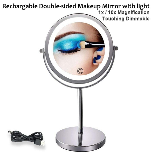 Makeup Mirror with LED Lights Magnification 10X/1X Double-sided Illuminated Lighted Magnifying Mirror with Lights Touching Dimmable Switch