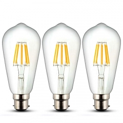 8W ST64 B22 LED Dimmable Filament Bulb Squirrel Cage Vintage Light Antique Style Edison Bulb 70W Incandescent Equivalent (3-Pack)